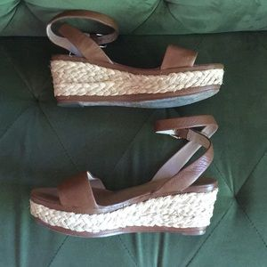 Dolce Vita Ankle Strap Leather Espadrille Wedges